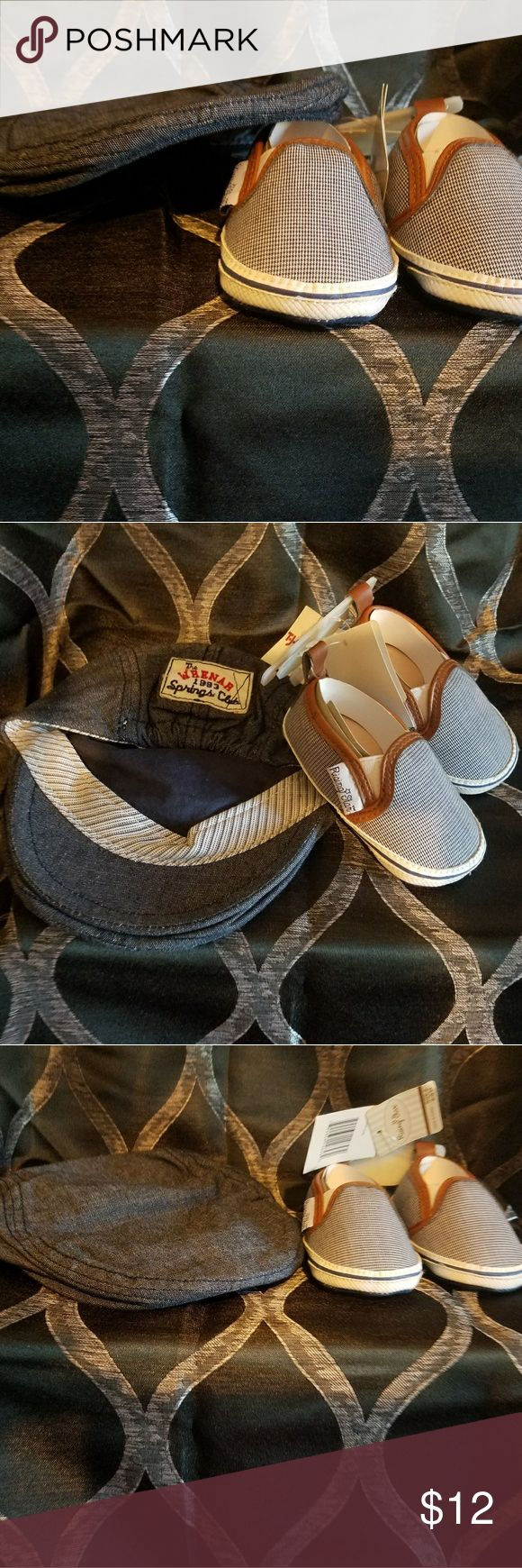 🆕 Baby Denim H&M Hat & Crib Shoes sz 6-9 mths Brand New Baby Blue Denim Flat Cap & Rising Star Brand Slip On Gingham Style Crib Shoes H&M Shoes Baby & Walker