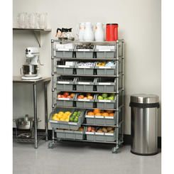 "Seville Classics Classics 14"" Deep Commercial 7 Shelf Bin Rack Storage System"