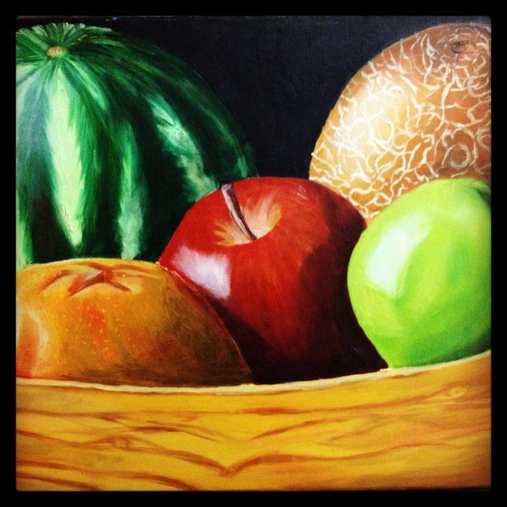 Naturaleza muerta. Vasija de frutas. Copia de otra pintura de internet.