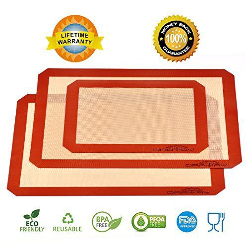 Product Feature: Do you like cooking on your free time? Do you want to baking the perfect pizza or cookies for your family and friends? And do you crazy when you wash the baking sheet or pan? Draway Baking Mat could help you solve this problem well : -Easy to clean : Simply wipe them off using... - http://kitchen-dining.bestselleroutlet.net/product-review-for-silicone-mats-for-baking-set-of-3-non-stick-silicone-baking-mat-2-large-for-half-sheet-liners-16-12-inch-x-11-58-inch