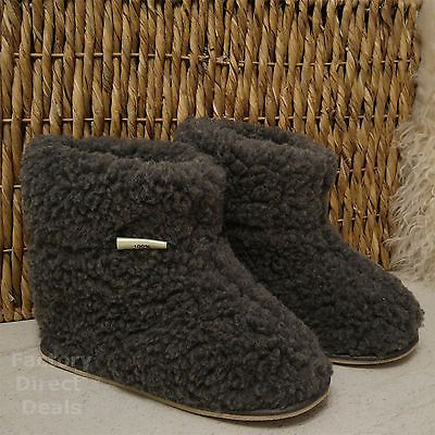 Hard Sole Boots Slippers 100% Pure Sheep Wool Cozy Foot Sheepskin Womens Mens