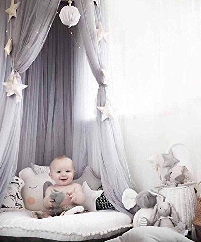 Mosquito Net Bed Canopy Play Tent Bedding for Kids Playing Reading with Children Round Lace Dome Netting Curtains, Baby Boys and Girls Games House: 100% brand new, high quality.brHanging ring in center.brRound dome bed canopy, beautiful and functional.brDecorate children's room.brFor a little girls or boys room or a bedroom makeoverbrColor: white, pink, khaki, grey,blue,purple.brMaterial: cotton net.brProduct size: height: 2m; upper part: 60cmbrBeautifully decorative, there are so ma...