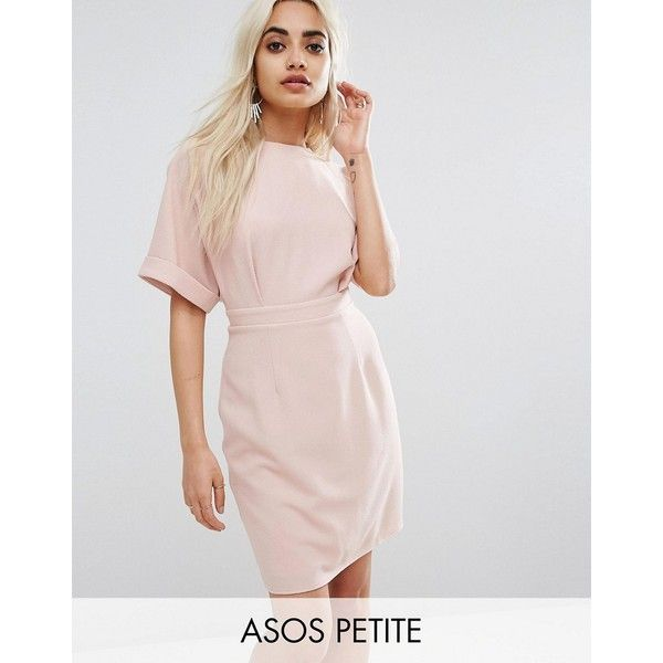 ASOS PETITE Mini Smart Woven Dress with V Back (77 CAD) ❤ liked on Polyvore featuring dresses, petite, pink, short sleeve dress, tall dresses, asos dresses, day to night dresses and pink short sleeve dress