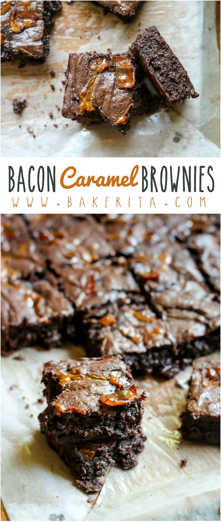 These Bacon Caramel Brownies are swirled with caramel & sprinkled with brown sugar bacon! If you've never tried bacon in brownies, you need to try these!