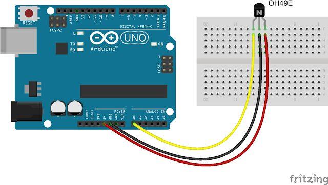 Daniele Alberti, Arduino 's blog: Sensore di campo magnetico OH49E e Arduino