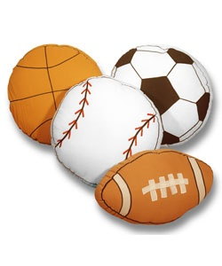 @Overstock.com - Dress up your boys room with these sporty decorative pillows. Available in baseball, soccer, basketball, and football, boys can have all of their favorites. These accent pillows are a fun decoration for any kid who loves to play sports.http://www.overstock.com/Home-Garden/Play-Ball-Sports-Themed-Decorative-Pillows/2873198/product.html?CID=214117 $23.49