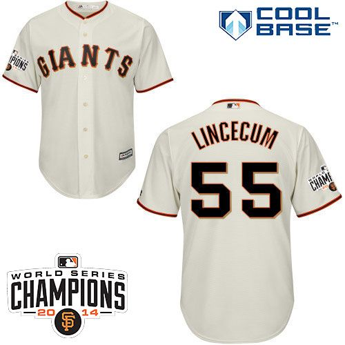 ad7feace72d ... Patch San Francisco Giants 2015 Cool Base Tim Lincecum Home Jersey  w2014 World Series Champions ...
