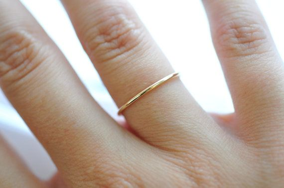 Thin Gold Wedding Band 14K Rings Tiny Thin by BlueRidgeNotions