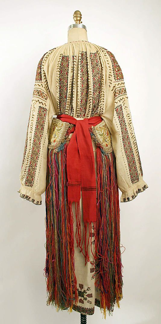 Dress Date: 19th century Culture: Romanian Medium: a,b) cotton, silk c) silk, wool