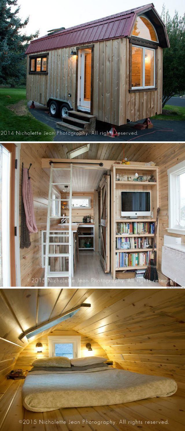 A 230 sq ft tiny house with a bookshelf!