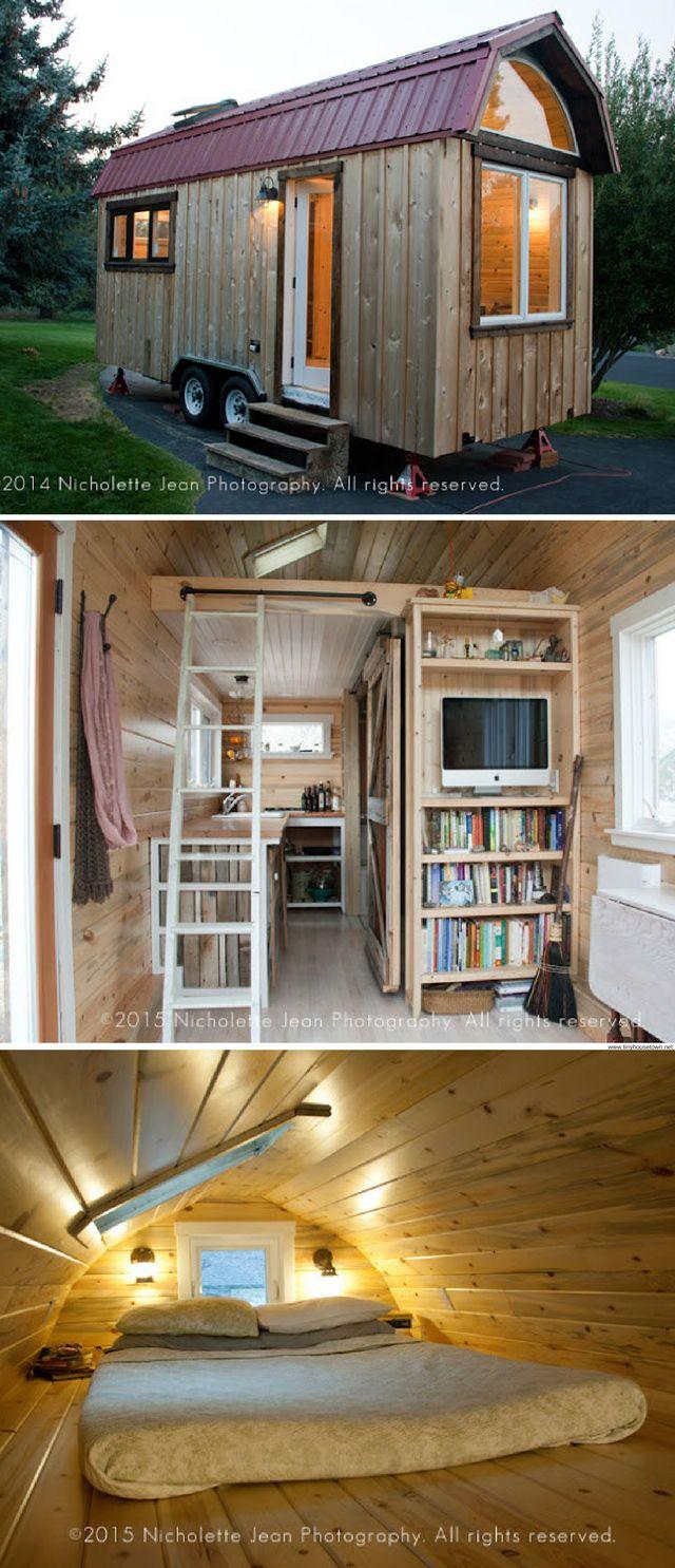 A 230 sq ft tiny house with a bookshelf!