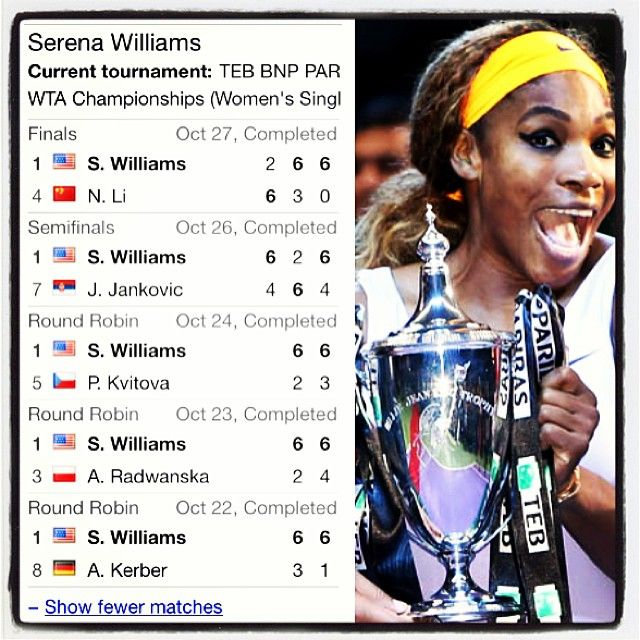 """Via theone: """"Well..She did it! Serena Williams defeated Li Na in finals of Yr End Champs-Istanbul! Losing the 1st, she displayed the fight & determination she displayed time & time again..captured a personal best of 11 titles..earned a record $12.4 Mil in [2013] alone..prize money total..$54 Mil+, more than any other female athlete in history! She'll also end the yr ranked #1!..says the best is yet to come!emoji! #serenawilliams #yec #shewon shedidthat #champion #1 #incomparable…"""