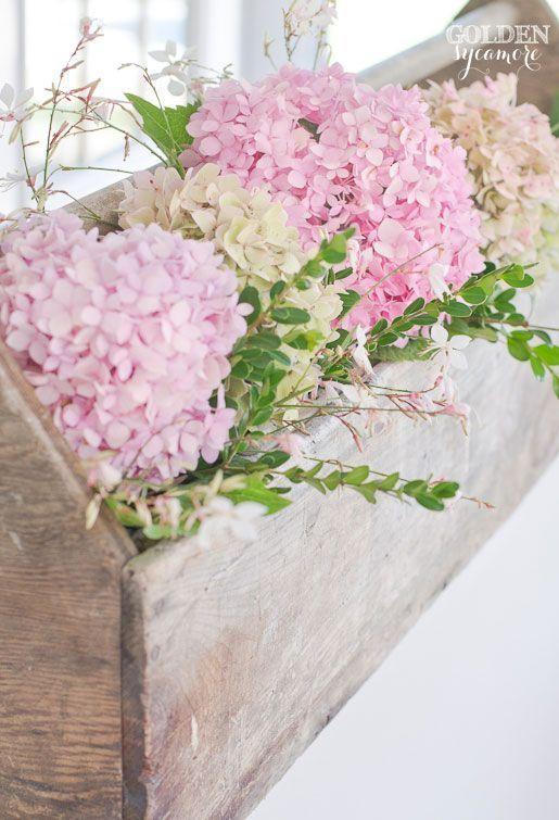 Beautiful pink hydrangeas in vintage toolbox
