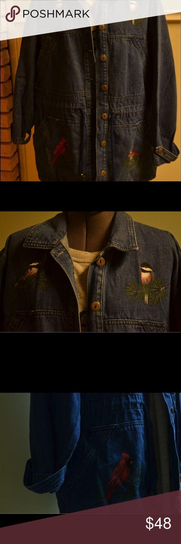 Women's Sun Belt Denim Hand-Painted Bird Coat, szM Women's Sun Belt Denim coat. It has four adorable hand painted birds on it, also has a nice drawstring waist. Four pockets on the front,very well constructed. Women's medium. sun belt denim  Jackets & Coats Jean Jackets