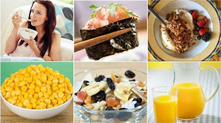 Spesso il pane integrale contiene dei coloranti che non lo rendono migliore del pane bianco, anzi. Il mais alza il livello di glucosio nel sangue. I muesli sono ricchi di grassi, i succhi di frutta contengono più zuccheri di molte bevande gassate. E poi il sushi, ahimè, non è così sano come sembra. Le alternative?polenta, i piselli, la zuppa d'avena e un pesce grigliato...