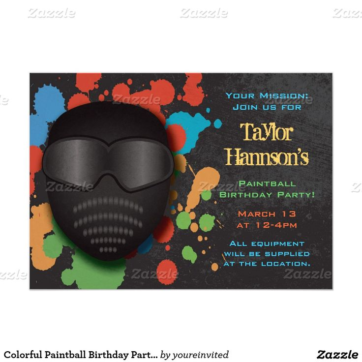 free printable camouflage birthday party invitations%0A Colorful Paintball Birthday Party Invitation