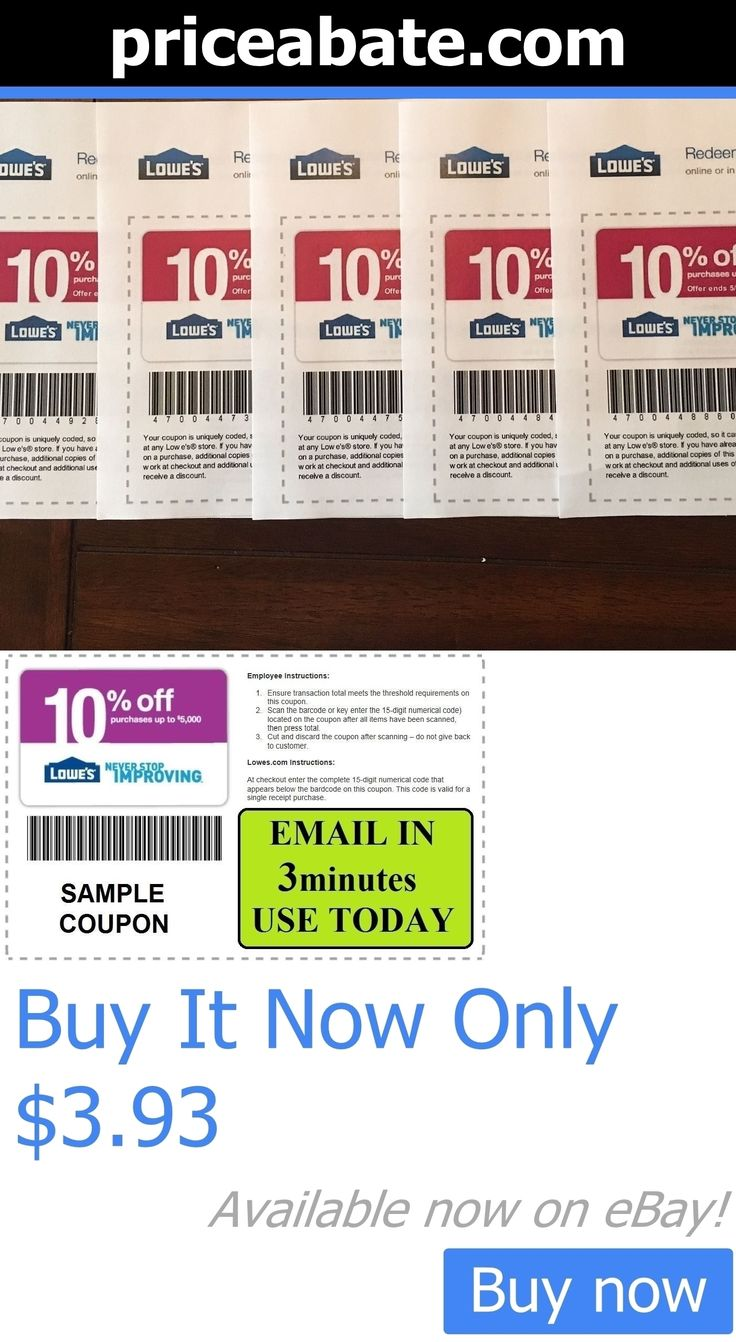 Coupons: Five (X5) Lowes 10% Off Code Promotion In-Store Online Fast Email 12-15-2016 BUY IT NOW ONLY: $3.93 #priceabateCoupons OR #priceabate