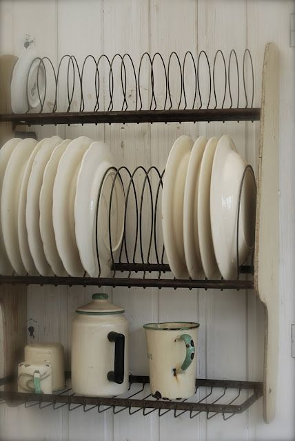 add style and storage with a vintage plate rack...a great way to organize dishes that are too pretty to hide in cabinets