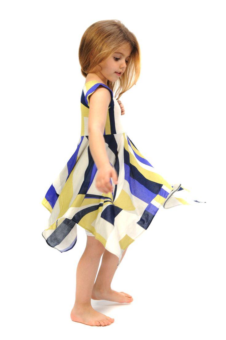 Handmade short sleeves twirly dress, geometric shape blue yellow white and black print