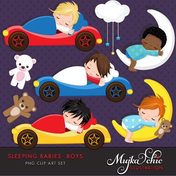 Sleeping Babies in car beds Clipart Instant Download Baby graphics by mujka on Etsy