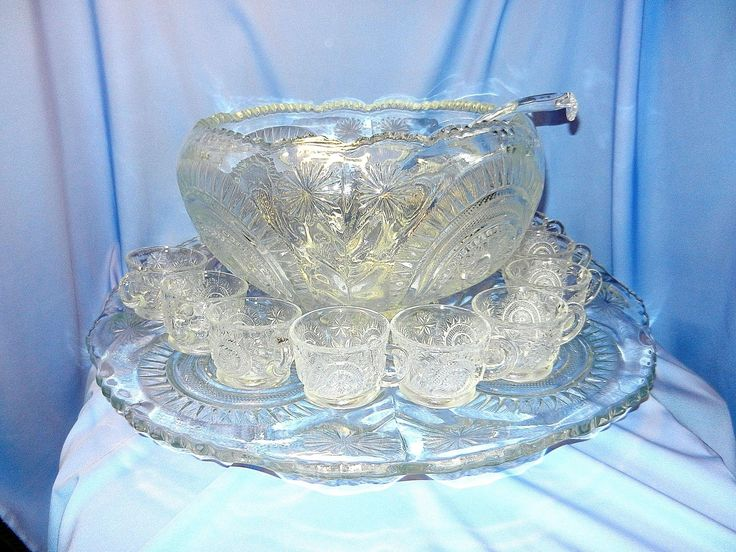 Antique Punch Bowl Set By L E Smith Glass Company In