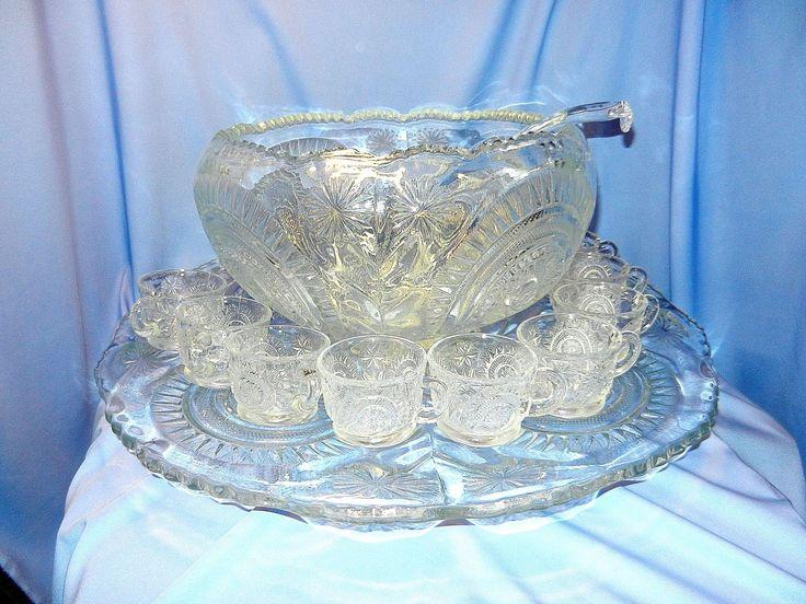 Antique Punch Bowl Set By L E Smith Glass Company