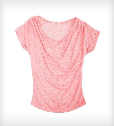 pink draped jersey top