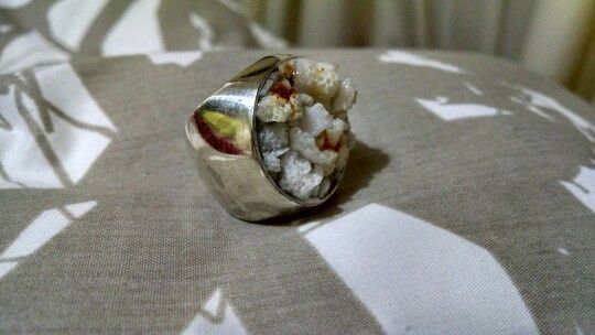 Anillo sello / Plata y coral blanco