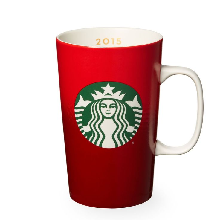 A ceramic coffee mug with our brighter, bolder 2015 red holiday cup design, part of this year's Dot Collection.