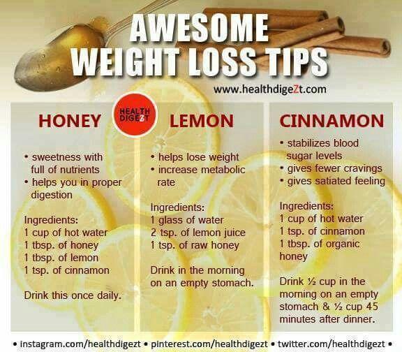 Awesome Weight Loss Tips - Honey, Lemon & Cinnamon
