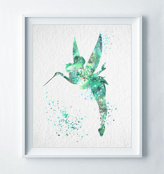 TinkerBell Watercolor Print Tinker Bell Disney Poster Nursery Art Baby Room Home Decor Fairy Wall Art Watercolour Girl Room Illustration A15