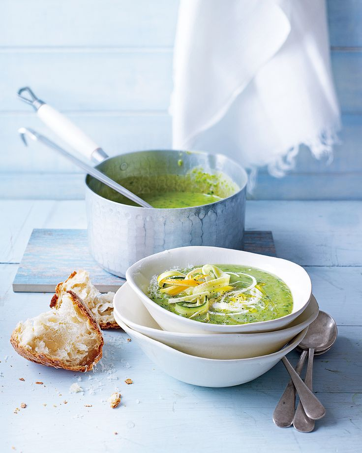 When summer provides a bounty of fresh vegetables, make this wonderfully green pea and courgette soup to serve as a light lunch or starter.