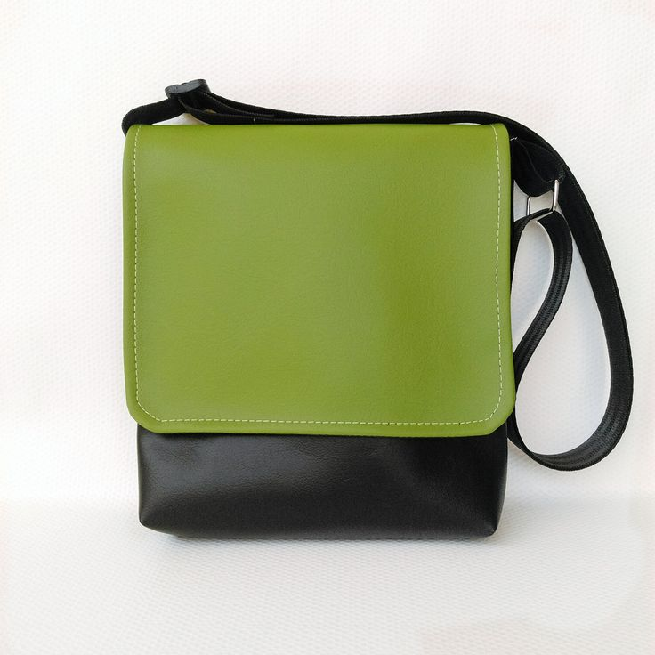 Kiwifruit green feature flap on black messenger vegan faux leather cross body crossbody shoulder vinyl bag handbag by CaptureHandmadeBags on Etsy