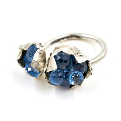 Bareelements «Wrapped» blue topaz cluster ring/Doubled