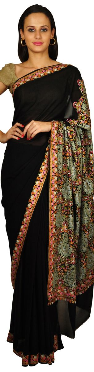 Kashida/ Sozni Kashmiri hand embroidery on Saree. i just love black sarees!