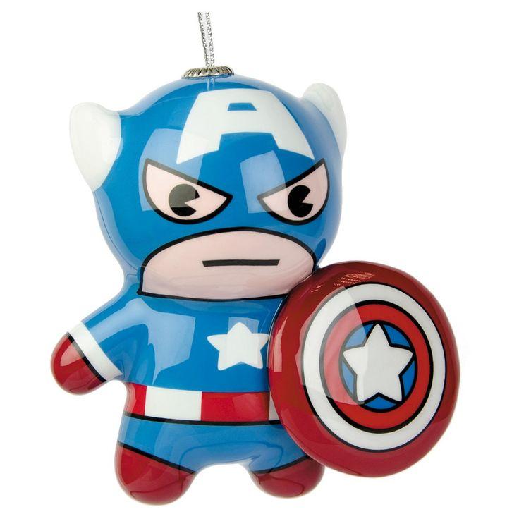 United States Christmas Ornaments Part - 46: Marvel Captain America Decoupage Christmas Ornament By Hallmark,