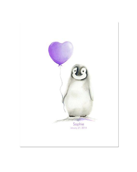 Pinguïn kwekerij kunst Love hart ballon van studioQgallery op Etsy