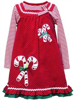 Little Girls Christmas Dresses -Red Candy Cane Size 3/6 Month - 6X $24.99