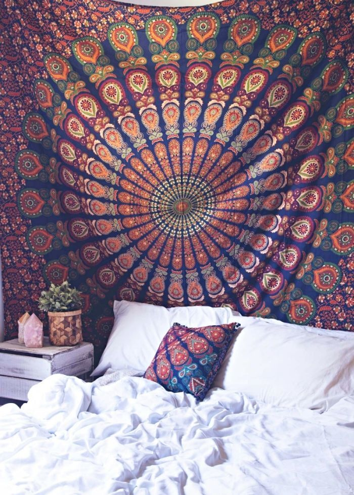 Blue Multi Good Vibes Mandala Medallion Wall Tapestry Hippie Bedding On RoyalFurnish 13