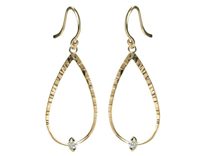 Cypress Forged Teardrop Earring With Diamond Hangs 1 In Length Tcw Our Jewelry Is Designed And Made One Piece At A Time Austin Texas Studio