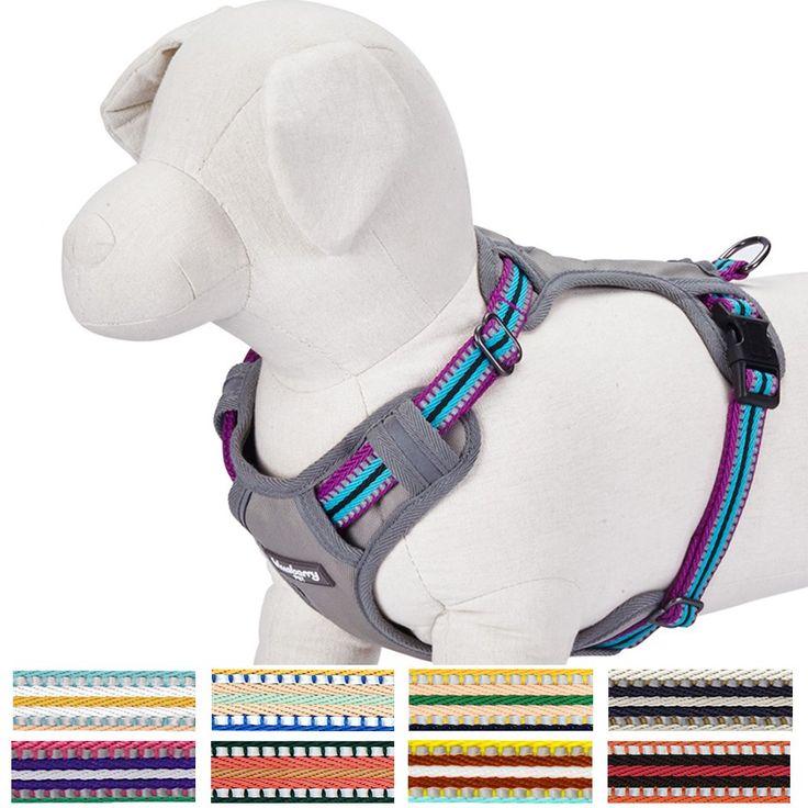 "Blueberry Pet 9 Colors Soft & Comfy 3M Reflective Multi-colored Stripe Padded Dog Harness Vest, Chest Girth 21""-26"", Neck 17.5""-26"", Violet & Celeste, Medium, Mesh Harnesses for Dogs"