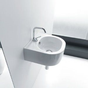 The Kerasan Flo basin can be installed as wall-hung or countertop, and comes in 40 or 60cm widths