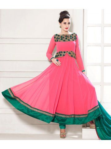 THANKAR HEAVY FLOOR LENGTH PEACH AND GREEN ANARKALI SUIT @ 1949/-