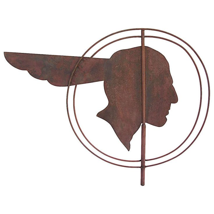 Circa 1930 double sided iconic Pontiac Indian weathervane in old barn red paint, Wisconsin origin