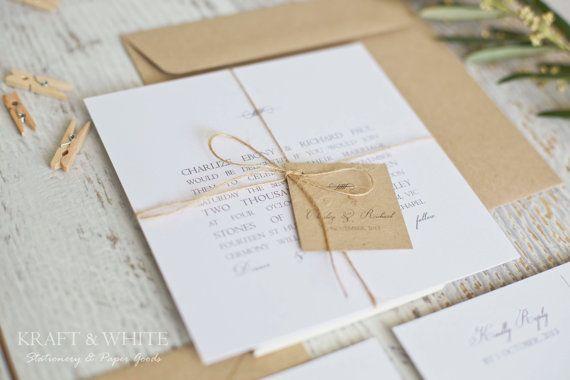 Sample wedding invitation set SUITE 5: White simplistic natural twine organic wedding invitation suite, white rustic wedding stationery set
