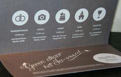 Trouwkaart   Matt & Liesbeth   uniek   origineel   trouwkaartje   linnen   luxe   uitstraling   silhouet   iconen   trouw icoontjes   vogeltjes   sierlijk   strak   witte inkt   Studio Altena