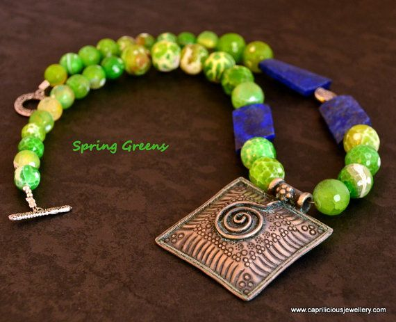 Silver Statement Necklace Colourful Jewellery lapis lazuli