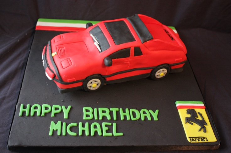 This ferrari is all edible! It is a chocolate cake with vanilla buttercream and choclate and butterscotch chips brcakes@hotmail.com