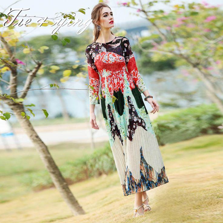 Купить 2016 весной новый принт с платье американо европейский мода свободного покроя впп симпатичные бальное платье slik старинные плиссированные макси платьеи другие товары категории Платьяв магазине Tie&YingнаAliExpress. платье платье и платье шаль