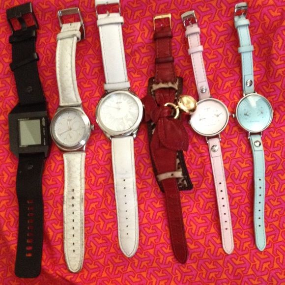 Bundle Deal  6 Designers Watches Price of 1 Deal Bundles Deal  6 Designers Watch For Price of 1 Deal. They all are 100% Authentic. Brand include Diesel, Swatch Swiss, Guess, and Tokyo Bay. They all been worn for short period of time, show some normal sign of used, nothing major. In very good condition, they all need a new batteries. I no longer wear them. The black one on left is Diesel, then Swatch Swiss (White strap with crystal), Guess (White), Guess (Red leather strap with bow and pony…